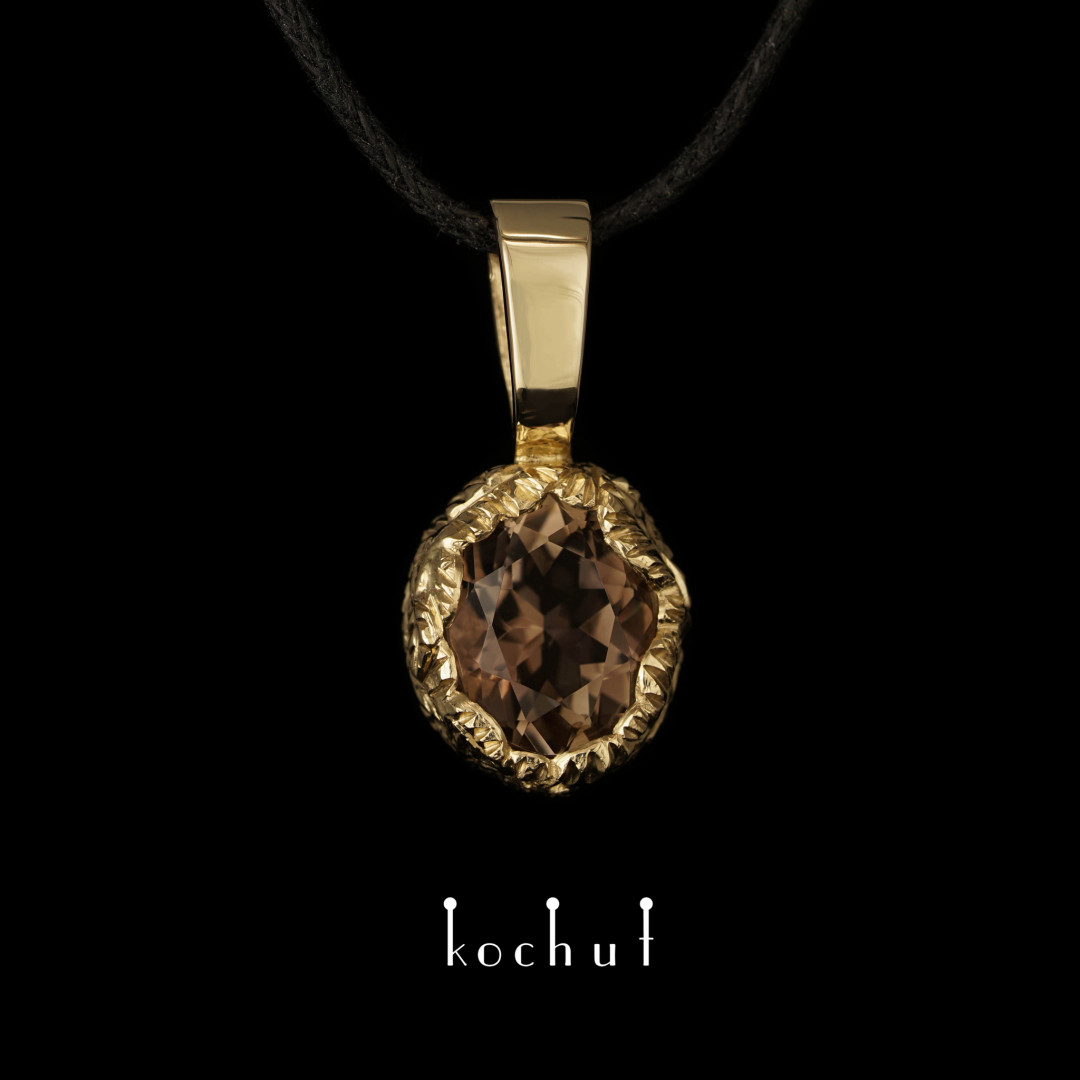 Pendant «The Source of Life». Yellow gold, rauchtopaz