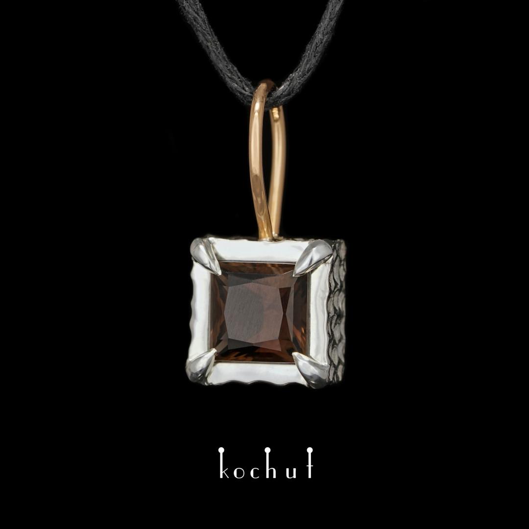 Pendant «Duolite». Red gold, silver, smoky quartz