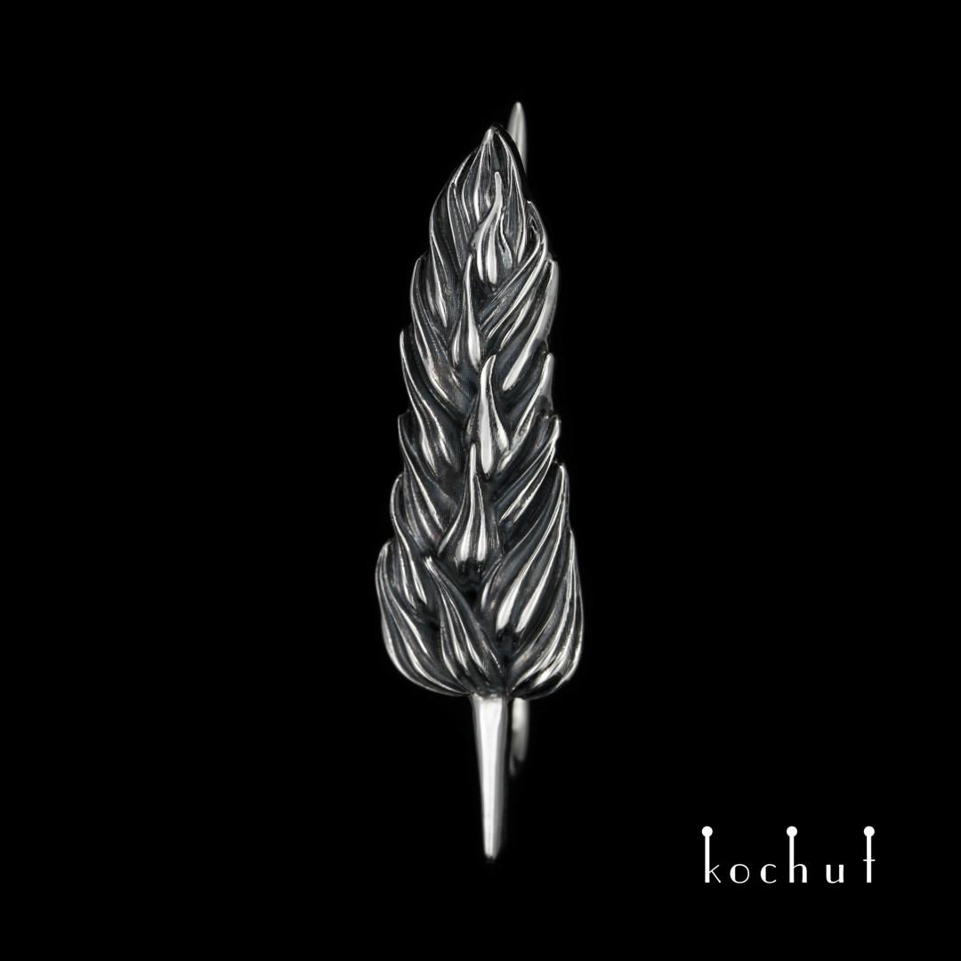 "Brooch ""Spikelet"". Silver, oxidation"