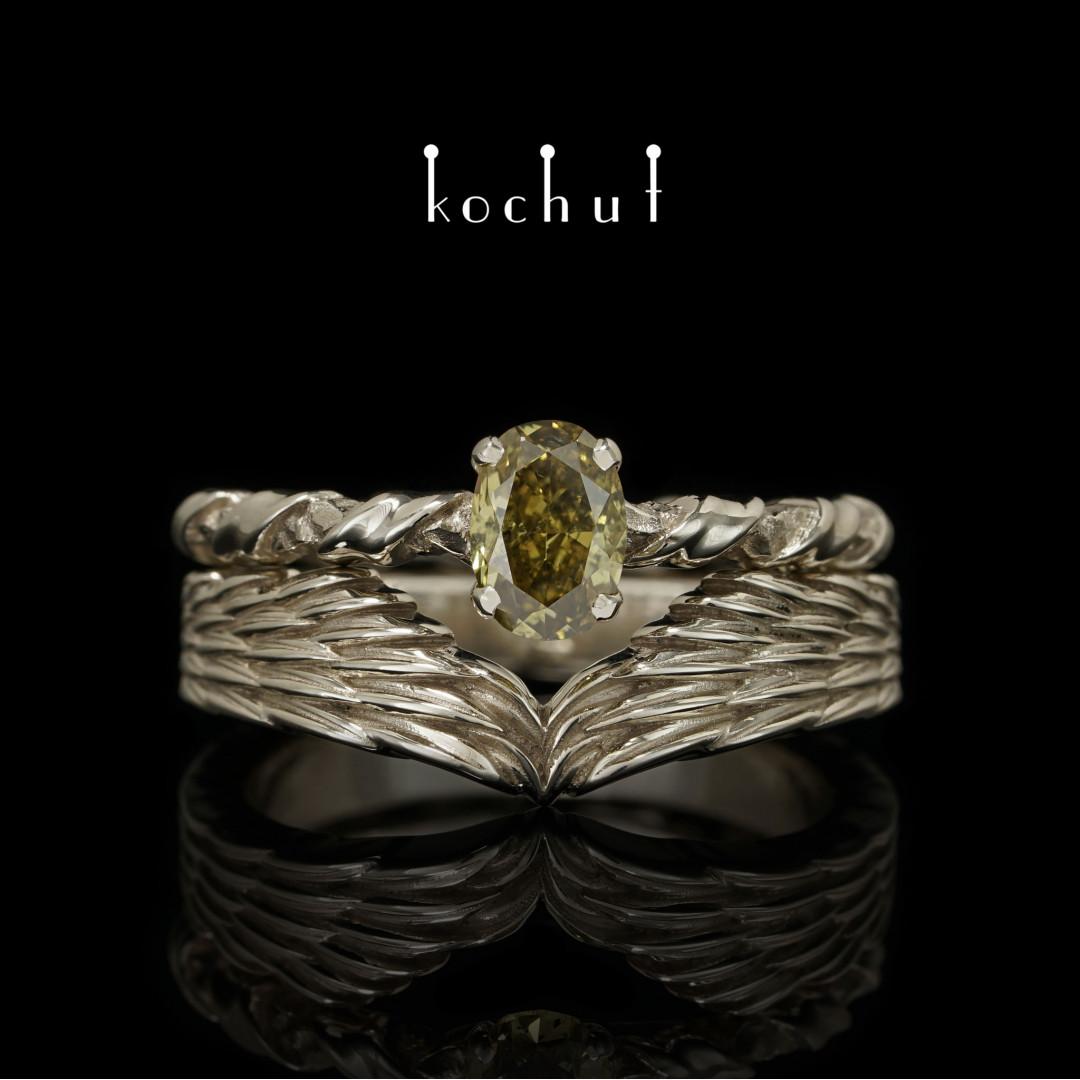 Double ring «Elena Troyanskaya». White gold, diamond