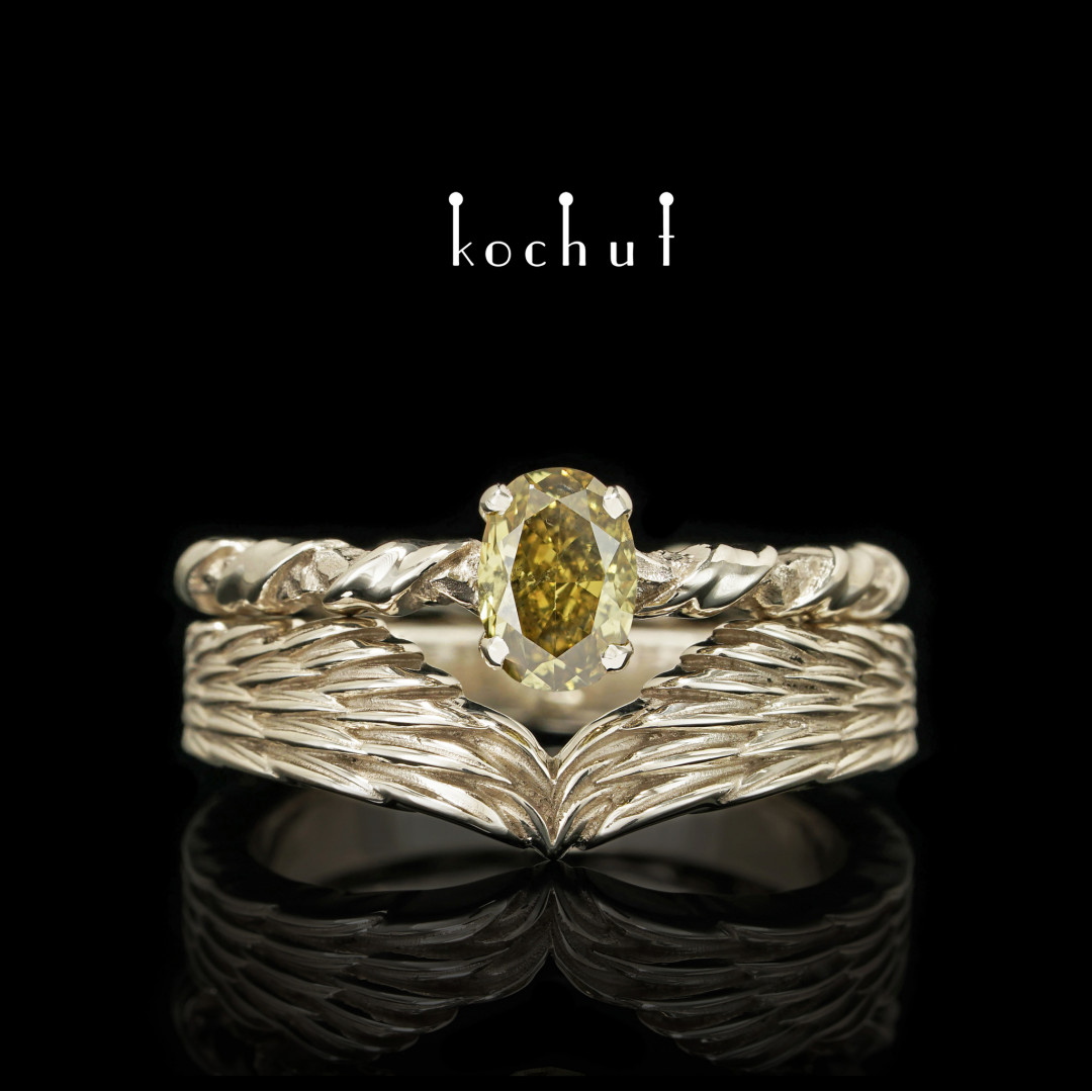 Double engagement ring «Elena Troyanskaya». White gold, diamond