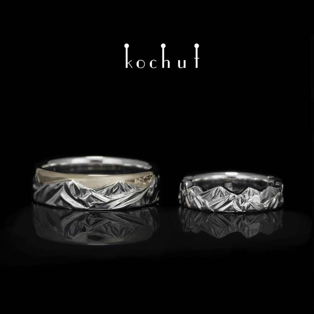 Wedding rings «Peaks of Love». White gold, silver