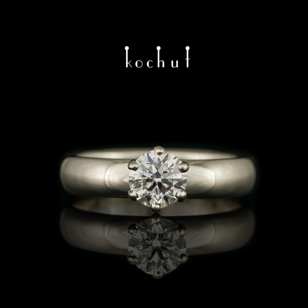 Engagement ring «Persephone». White gold, diamond