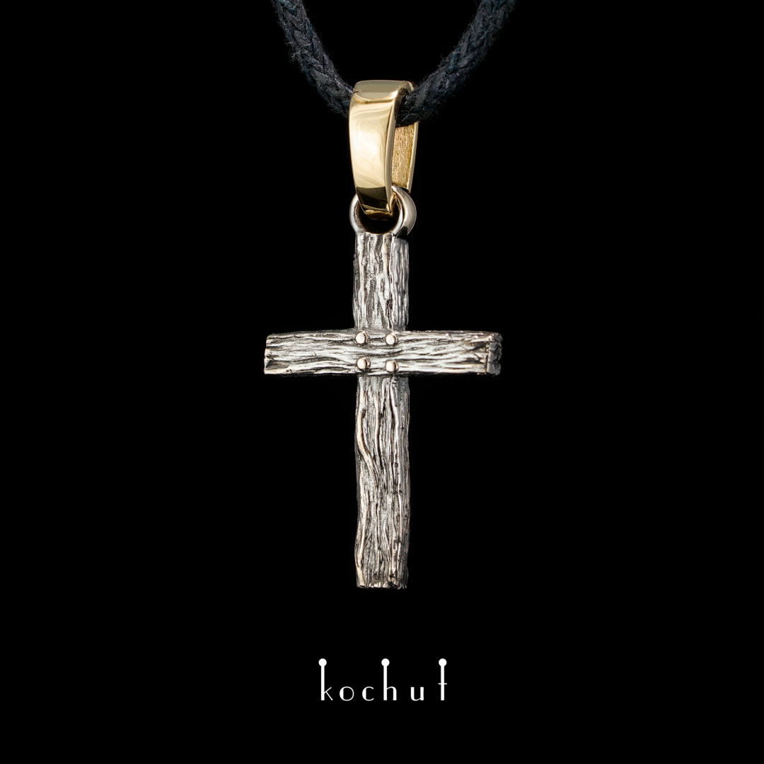 The cross is «Life-giving». Yellow and white gold, black rhodium