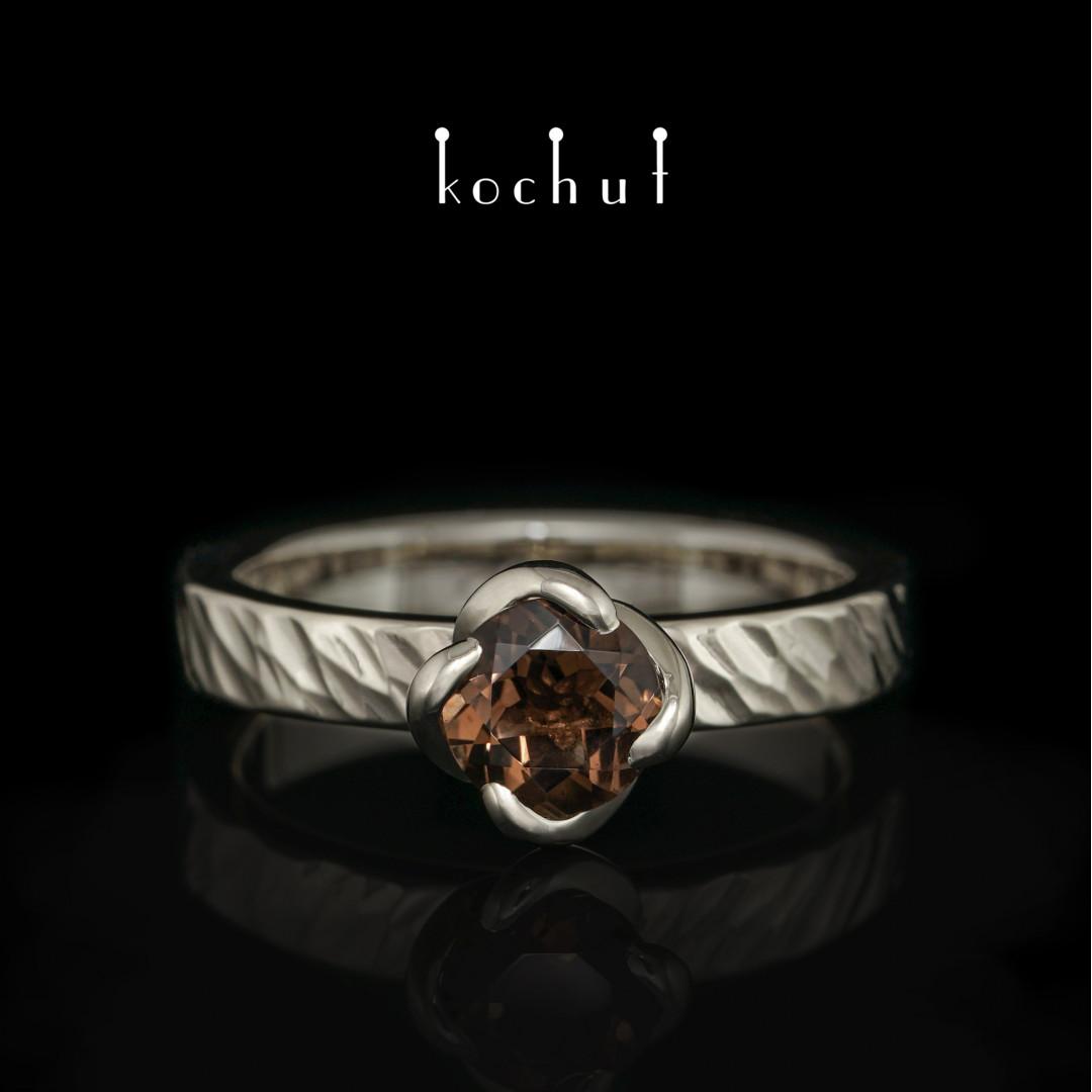 Ring «Grace». White gold, white rhodium, rauchtopaz
