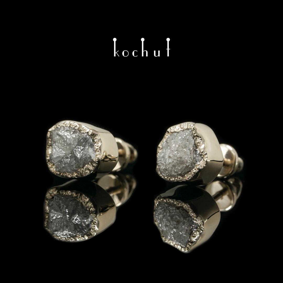 Earrings «My soul». White gold, raw diamonds