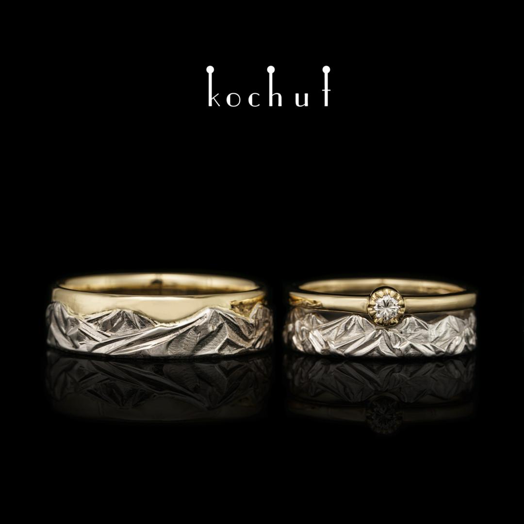 Set: proposal ring and wedding rings «Peaks of Love». White, yellow gold, diamond, white rhodium