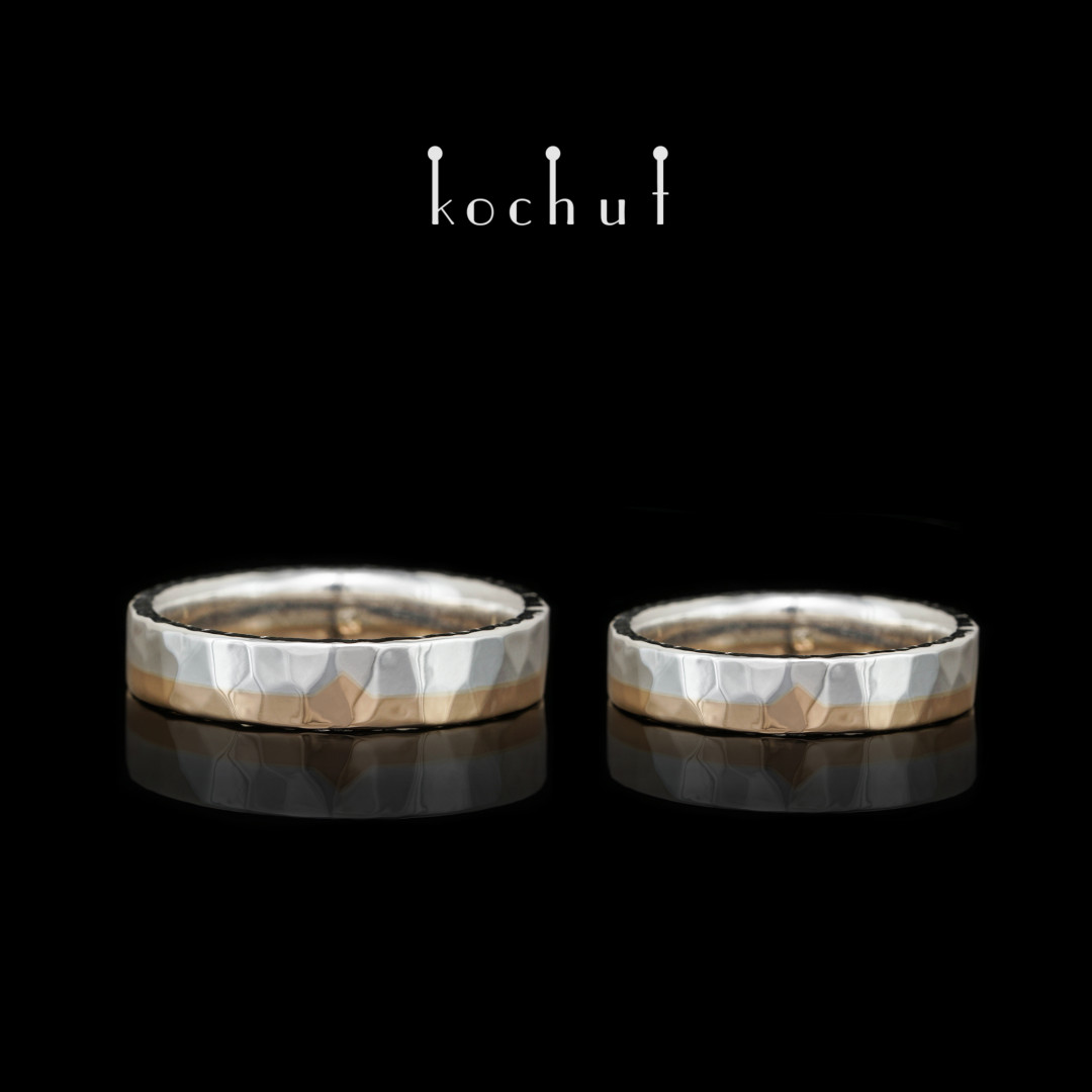 Flat-shaped wedding rings «Iceberg of feelings». Red gold, silver