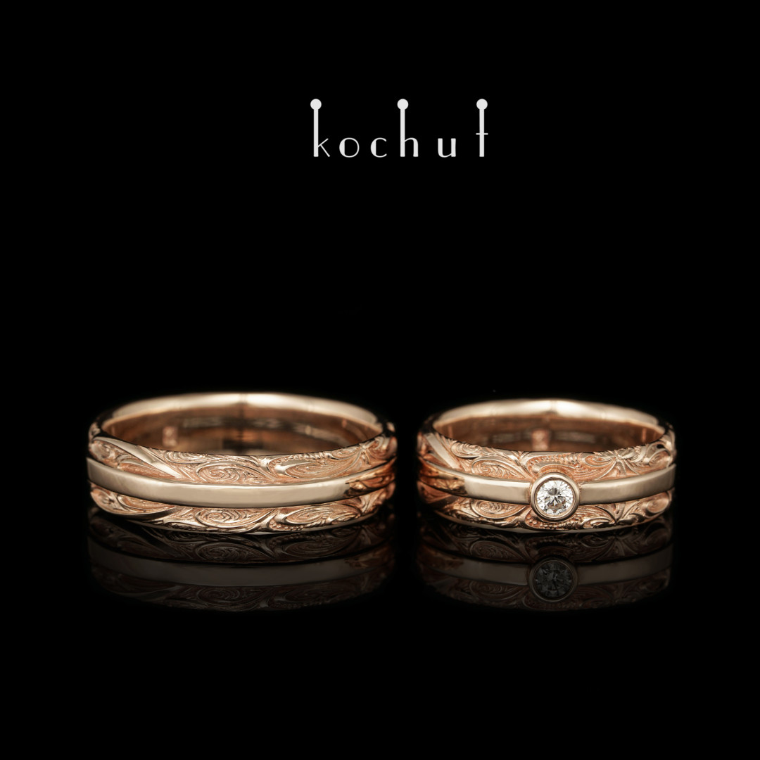 Wedding rings «Injoy and insorrow». Red gold, diamond