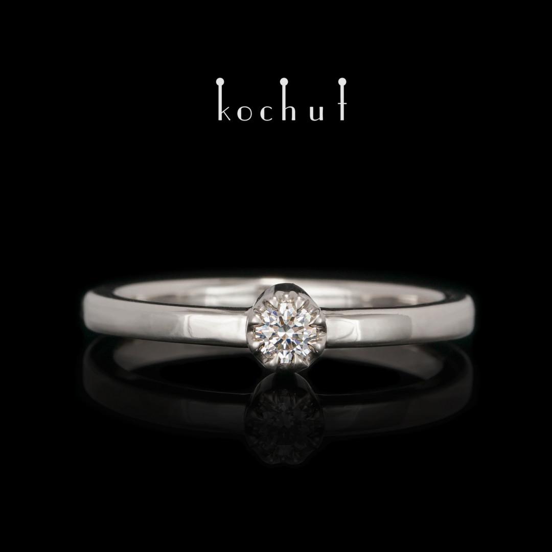 Engagement ring «Tops of love». Palladium gold, diamond