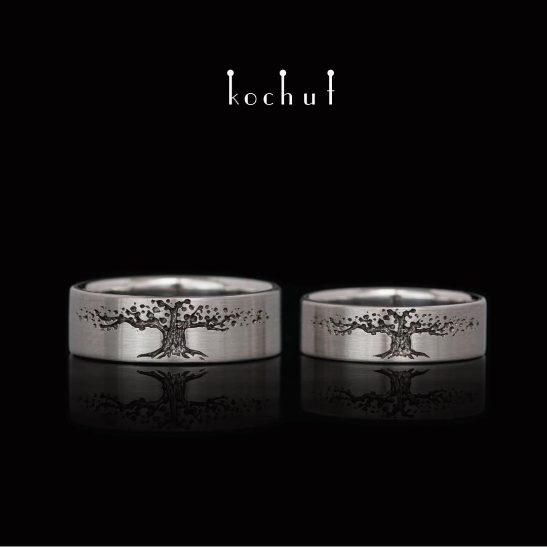 Flat-shaped wedding rings «Tree ofLife». Platinum, black rhodium