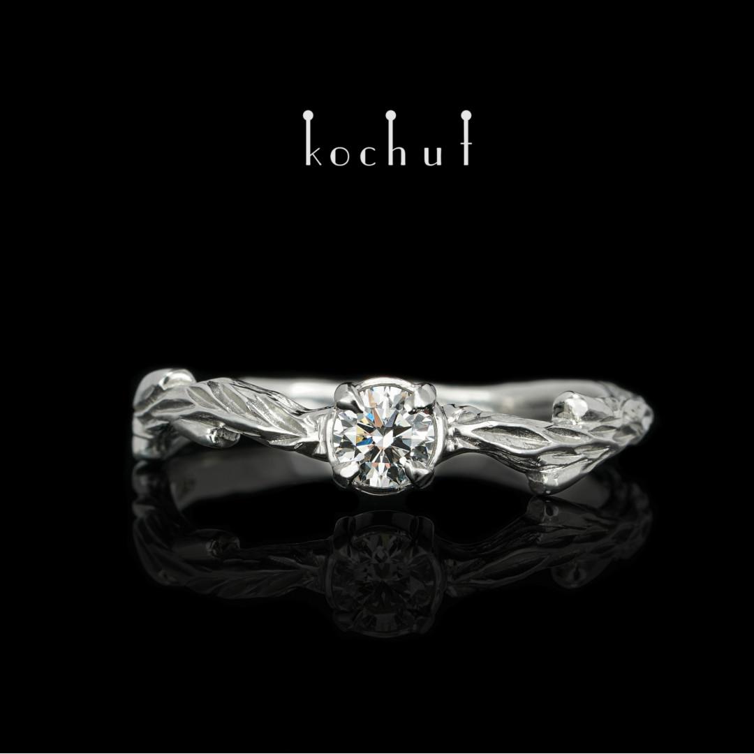 Engagement ring «March twig». Platinum, diamond