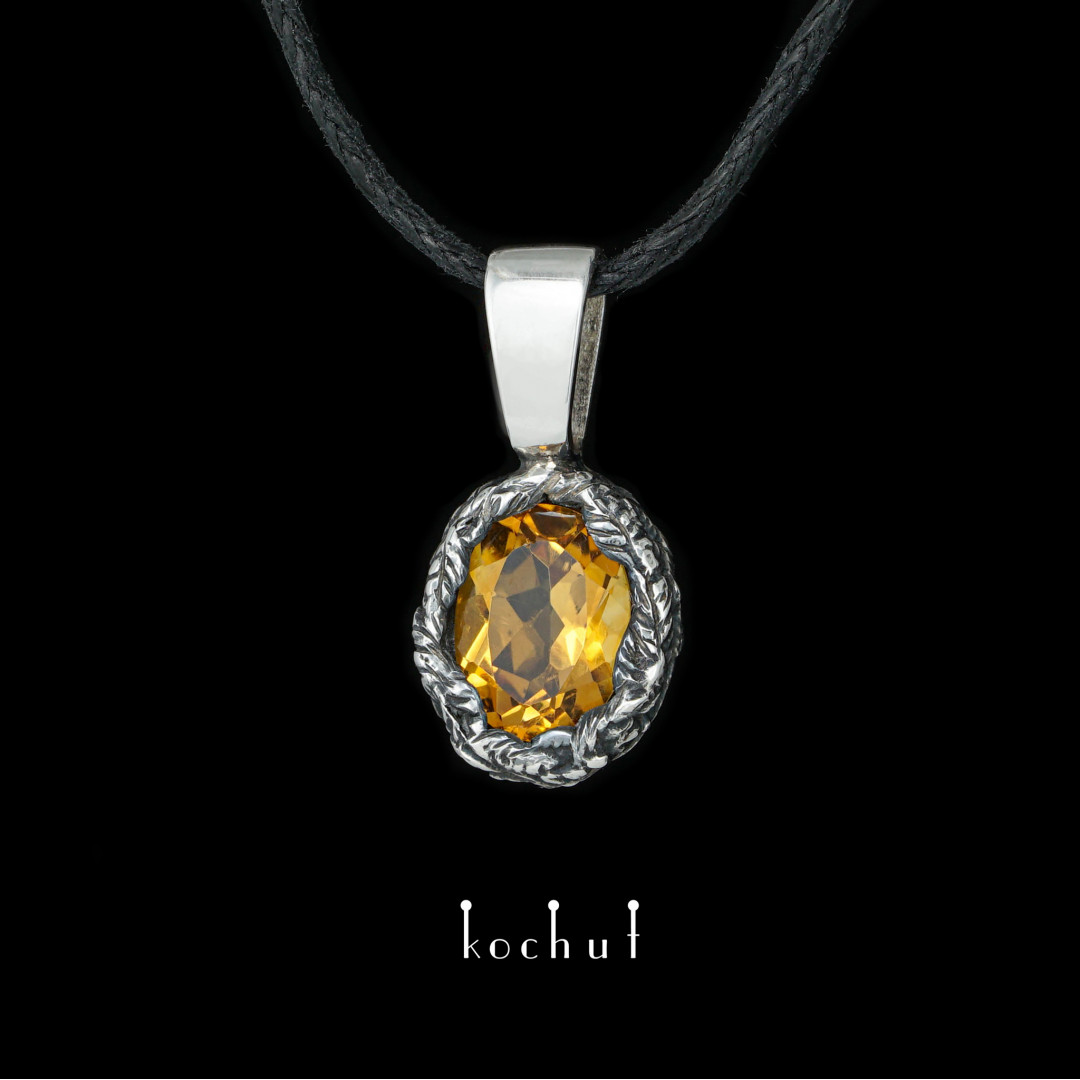 Pendant «The Source of Life». Silver, oxidation, citrine