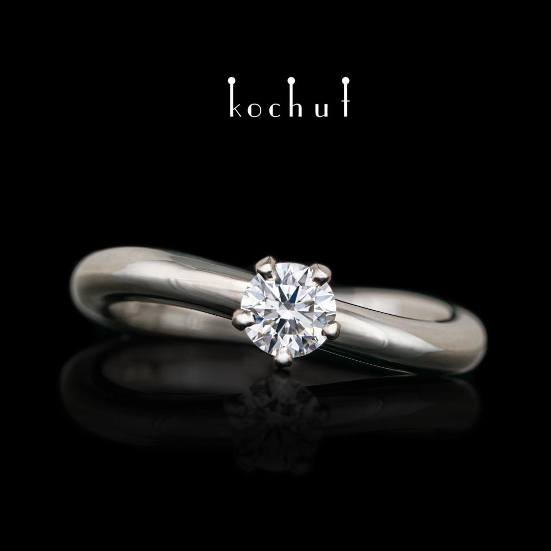 Engagement ring «Infinity». Palladium gold, diamond