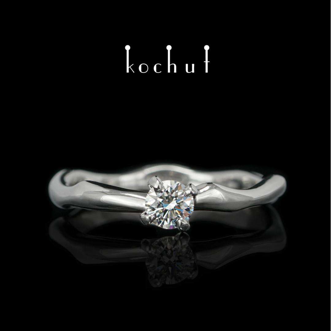 Engagement ring «Gentle hugs». Platinum, diamond