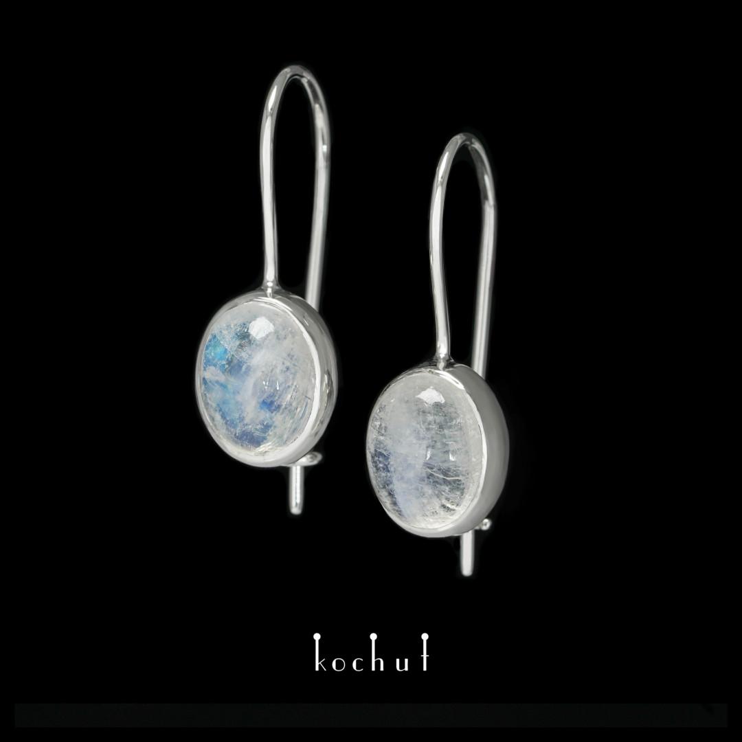 Earrings «Glitter of the Soul». White gold, white rhodium, moonstone