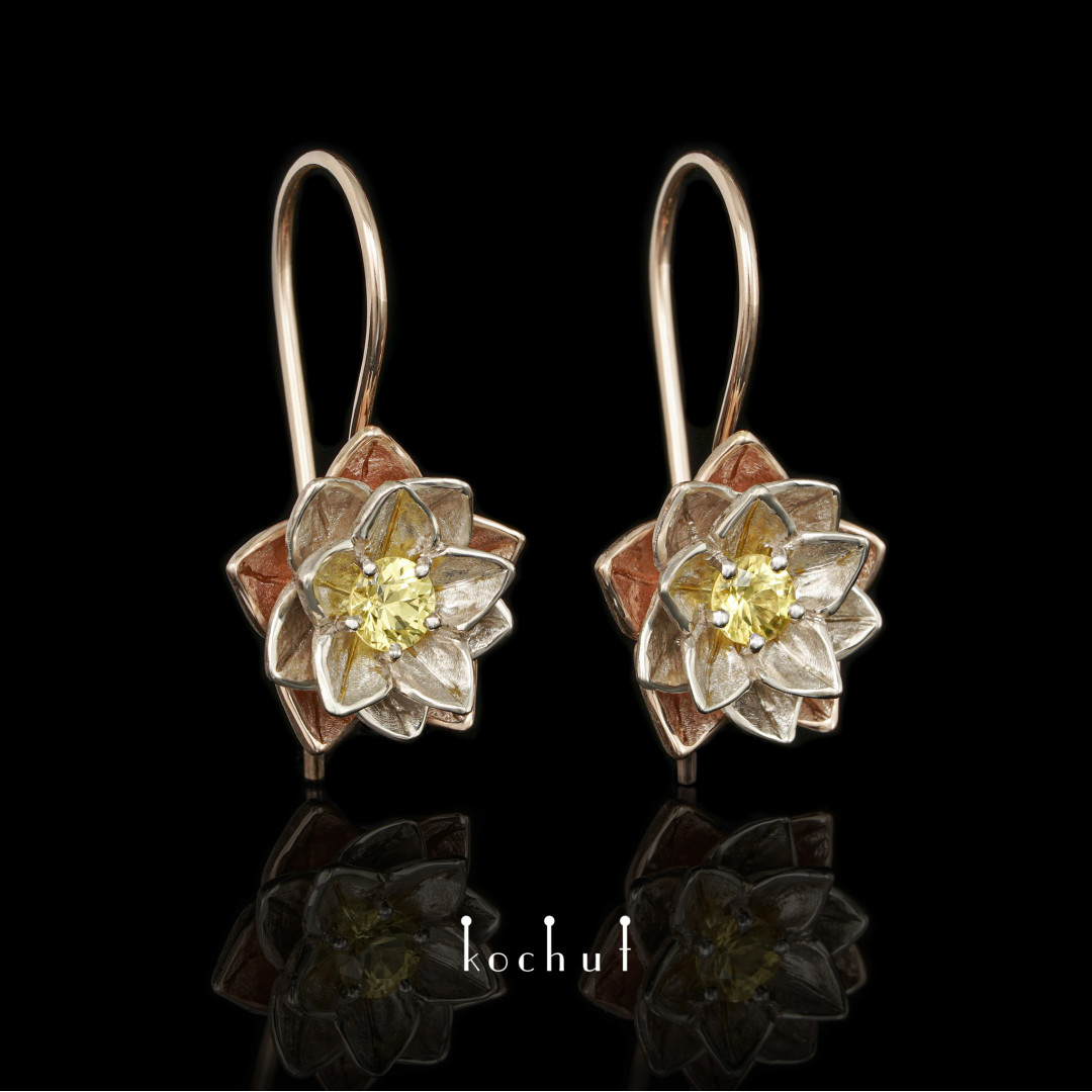 Earrings «Heart Lotus». White and red gold, yellow sapphires