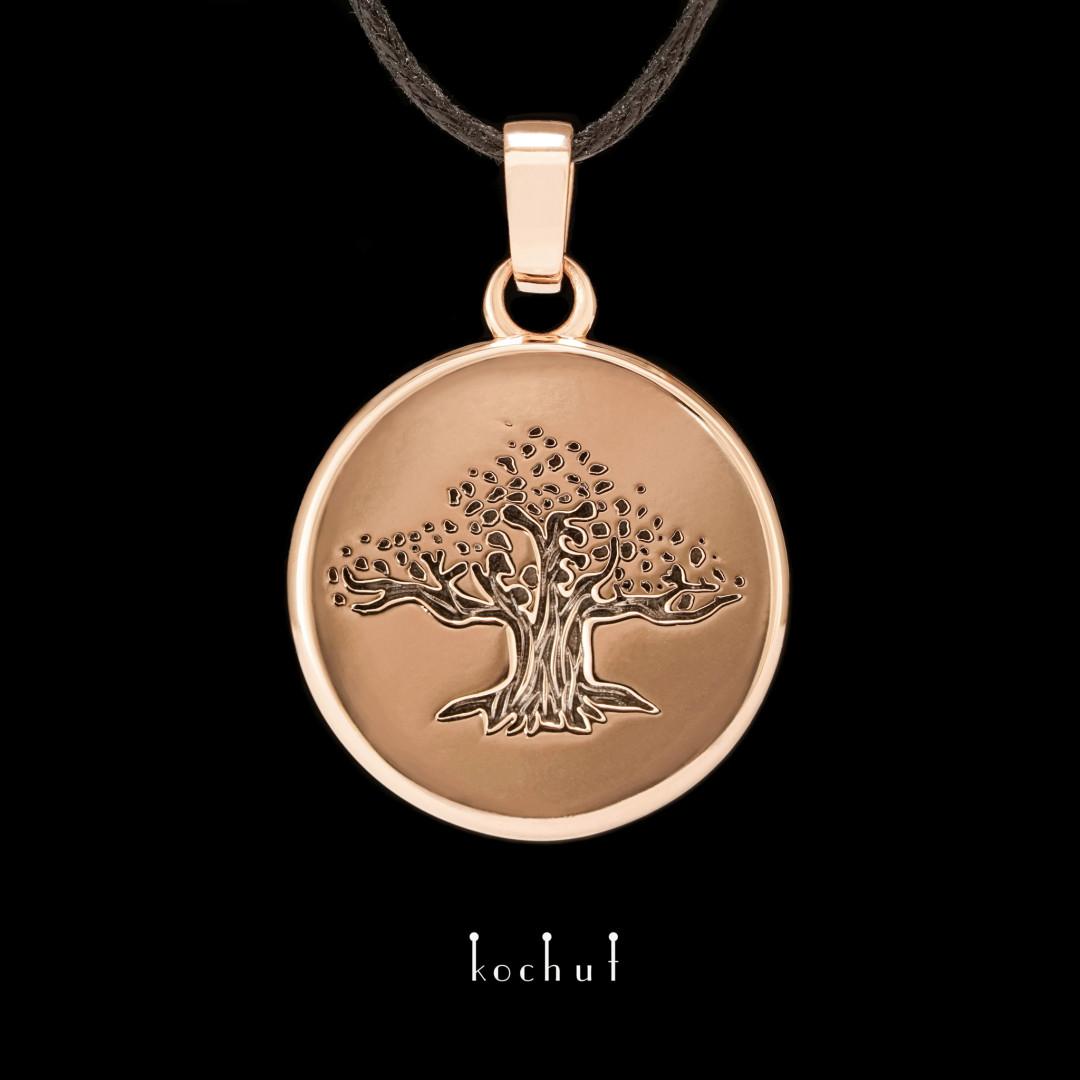 The pendant «Tree of life». Red gold, black rhodium