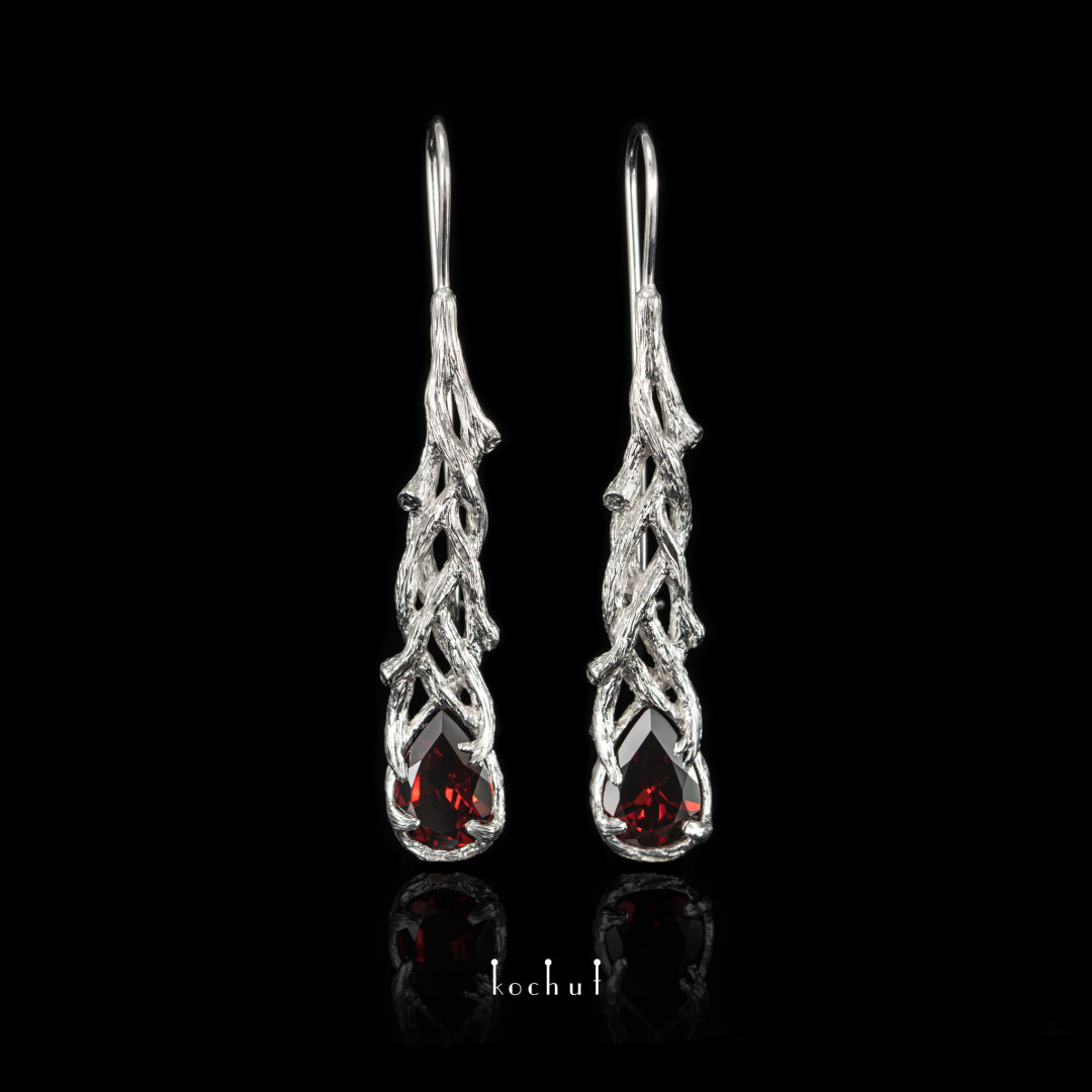 Earrings «Galadriel». Silver, garnet, white rhodium
