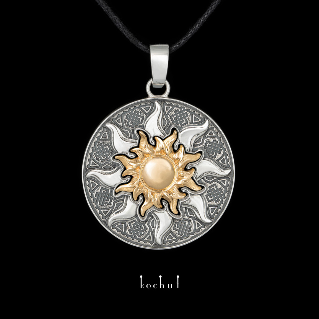 Double pendant «Mysun». Yellow gold, silver
