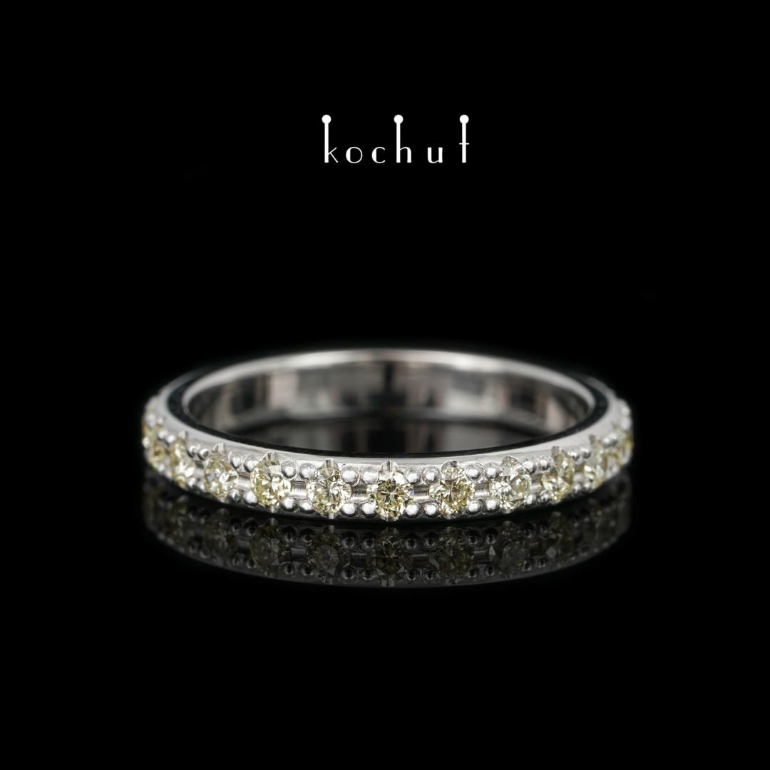 Engagement ring «My orbit». White gold, white rhodium, yellow diamonds