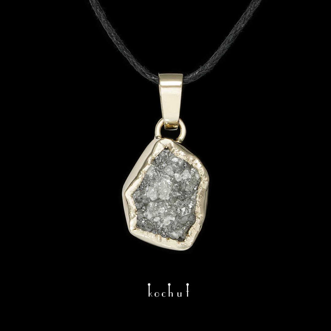 Pendant «My soul». White gold, raw diamond