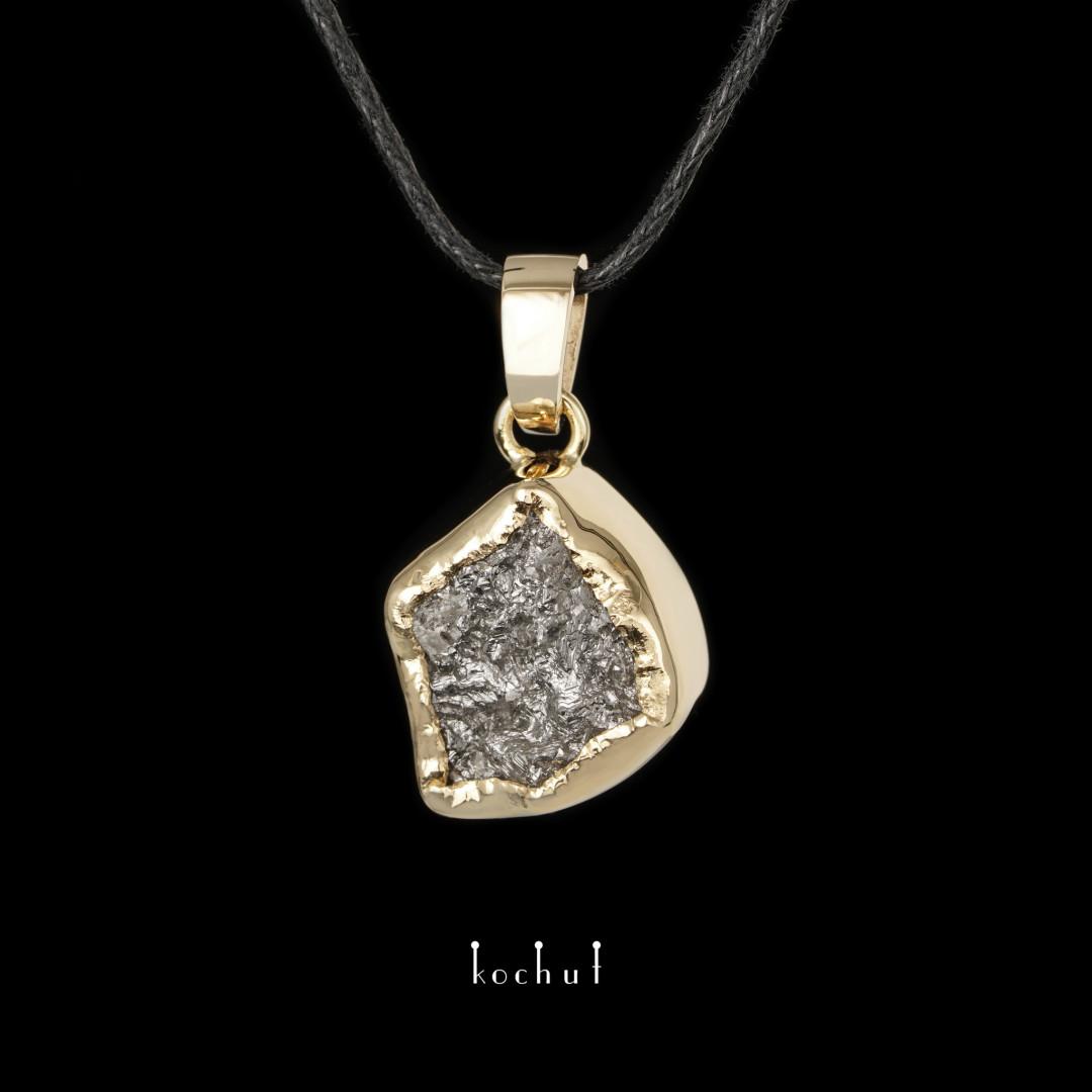 Pendant «My soul». Yellow gold, raw diamond