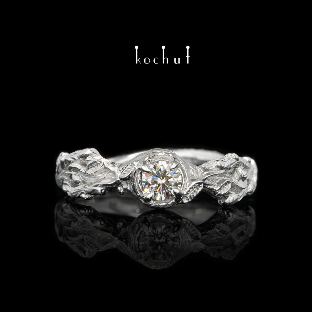 Engagement ring «Sprouts». White gold, diamond, white rhodium