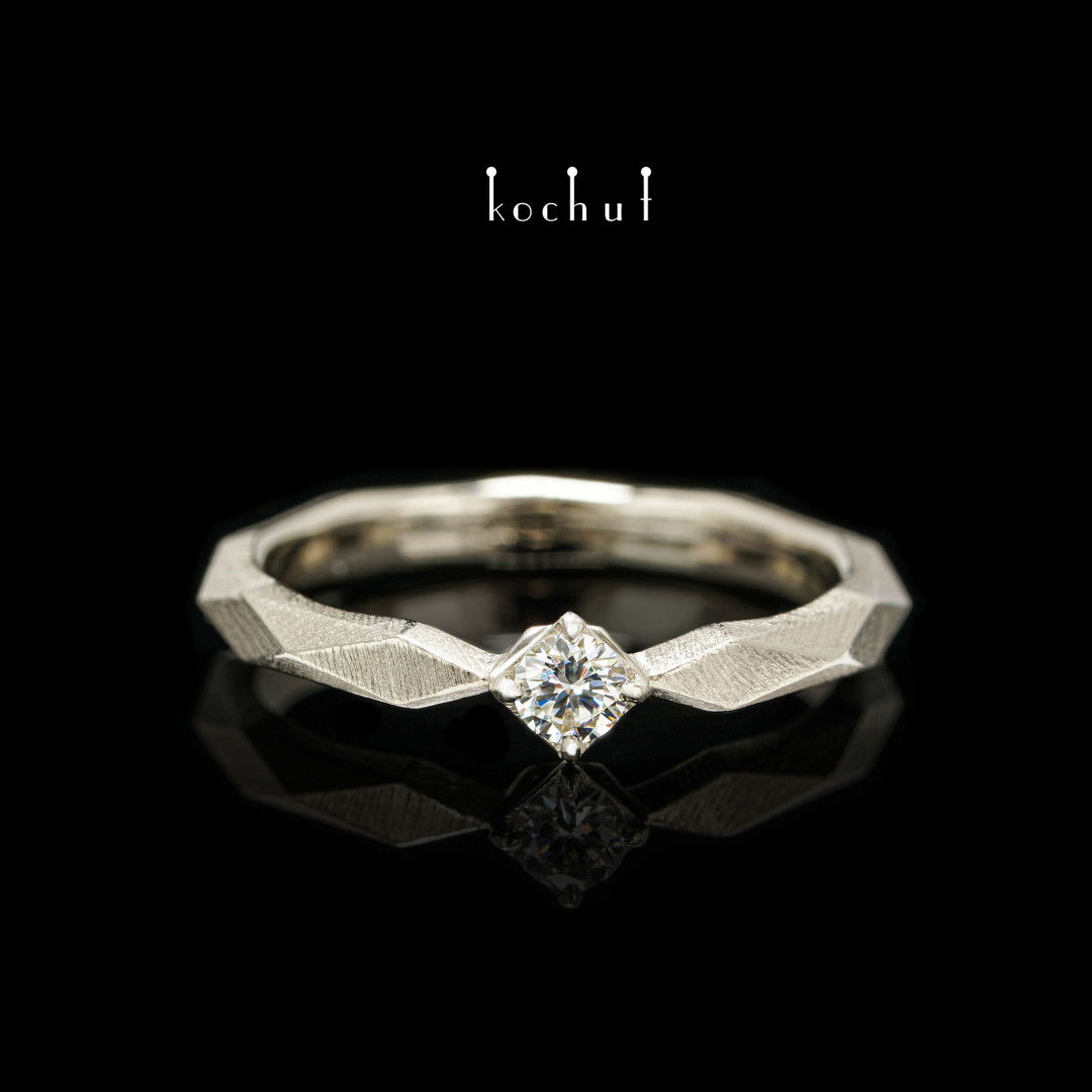 Engagement ring «MyQueen». White gold, diamond