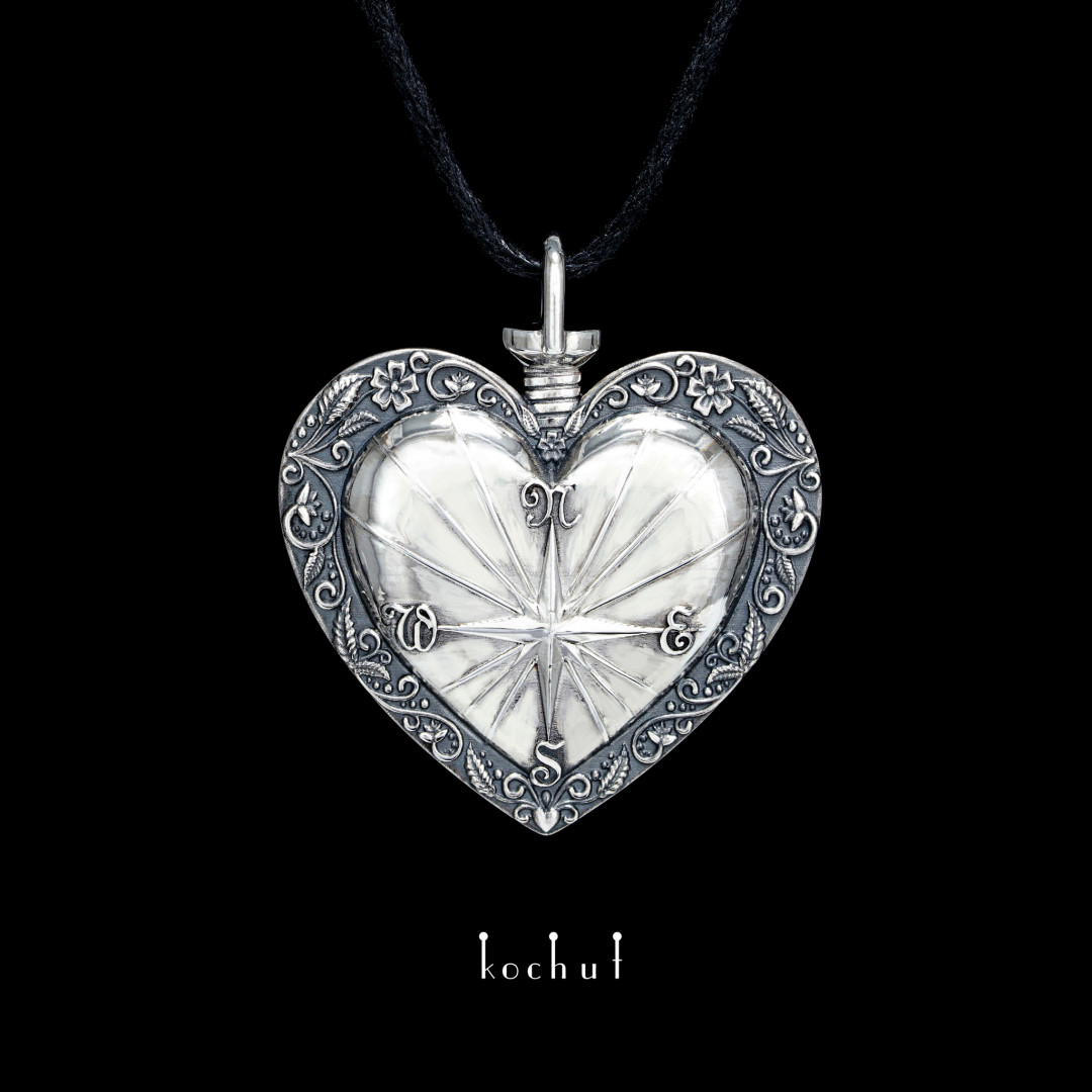 Pendant «Heart compass». Silver, oxidation