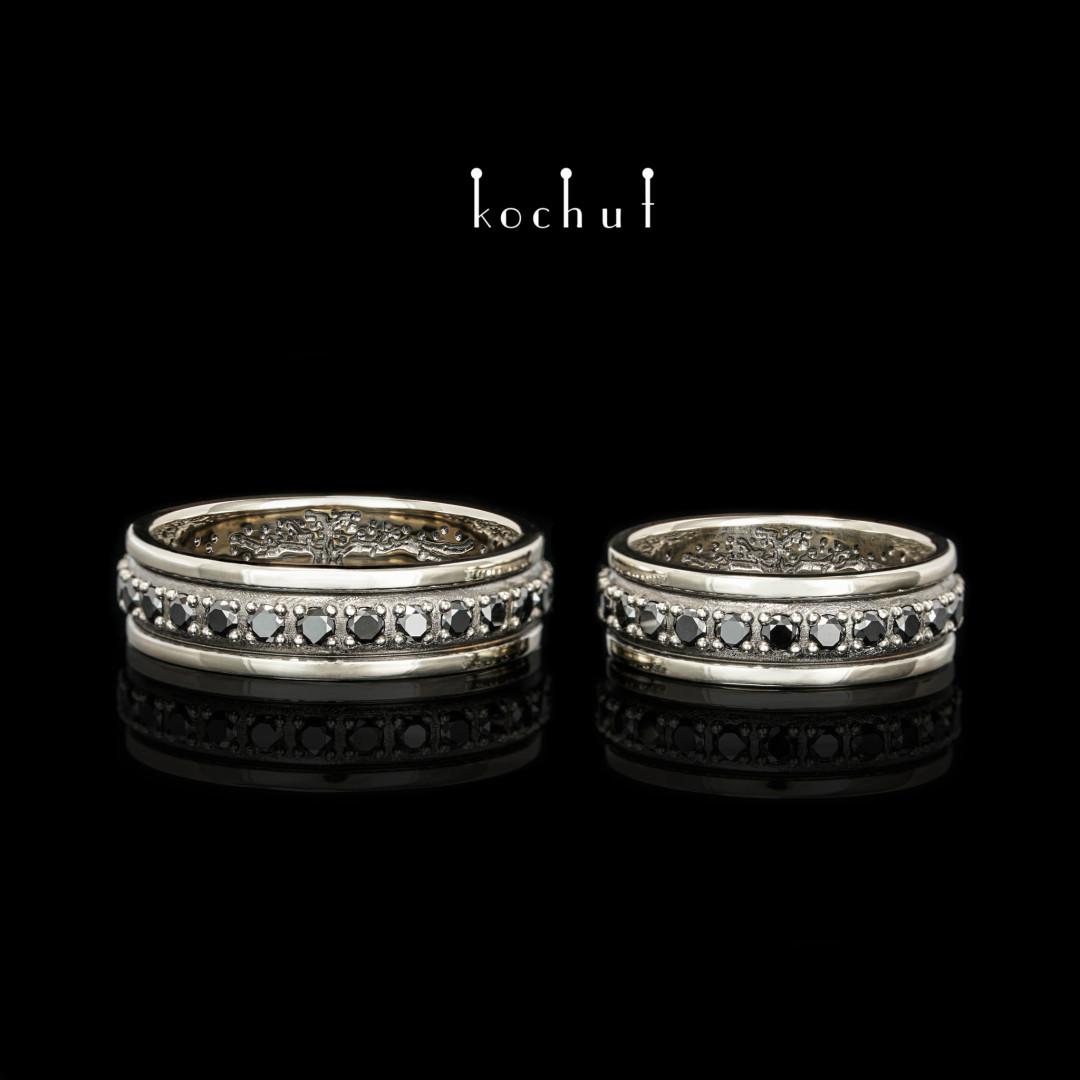 Wedding rings «Star Horizon» with atree oflife inside. White gold, black rhodium, black diamonds