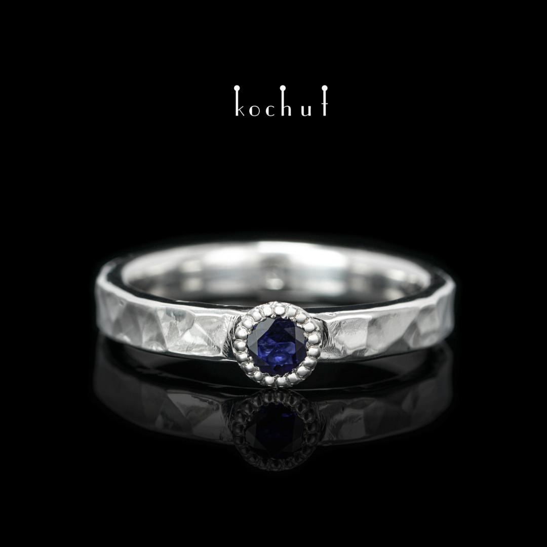 Ring «Vitamin». Silver, white rhodium, sapphire