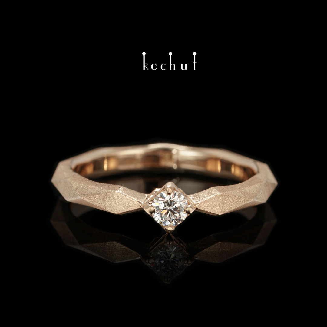 Engagement ring «MyQueen». Red gold, diamond
