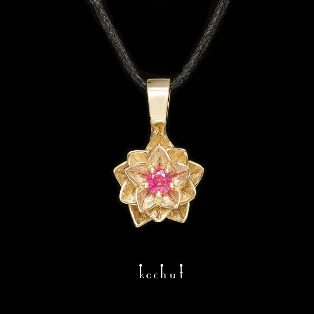 Pendant «Heart Lotus». Yellow gold, ruby