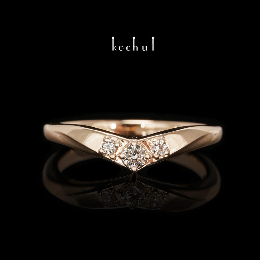 Mylady— red gold ring with diamonds