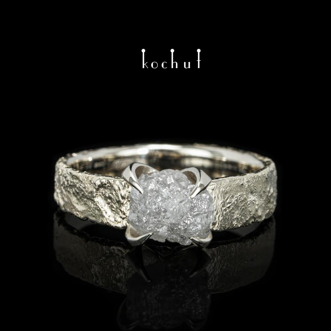 Ring «Delicate flower». White gold, diamond