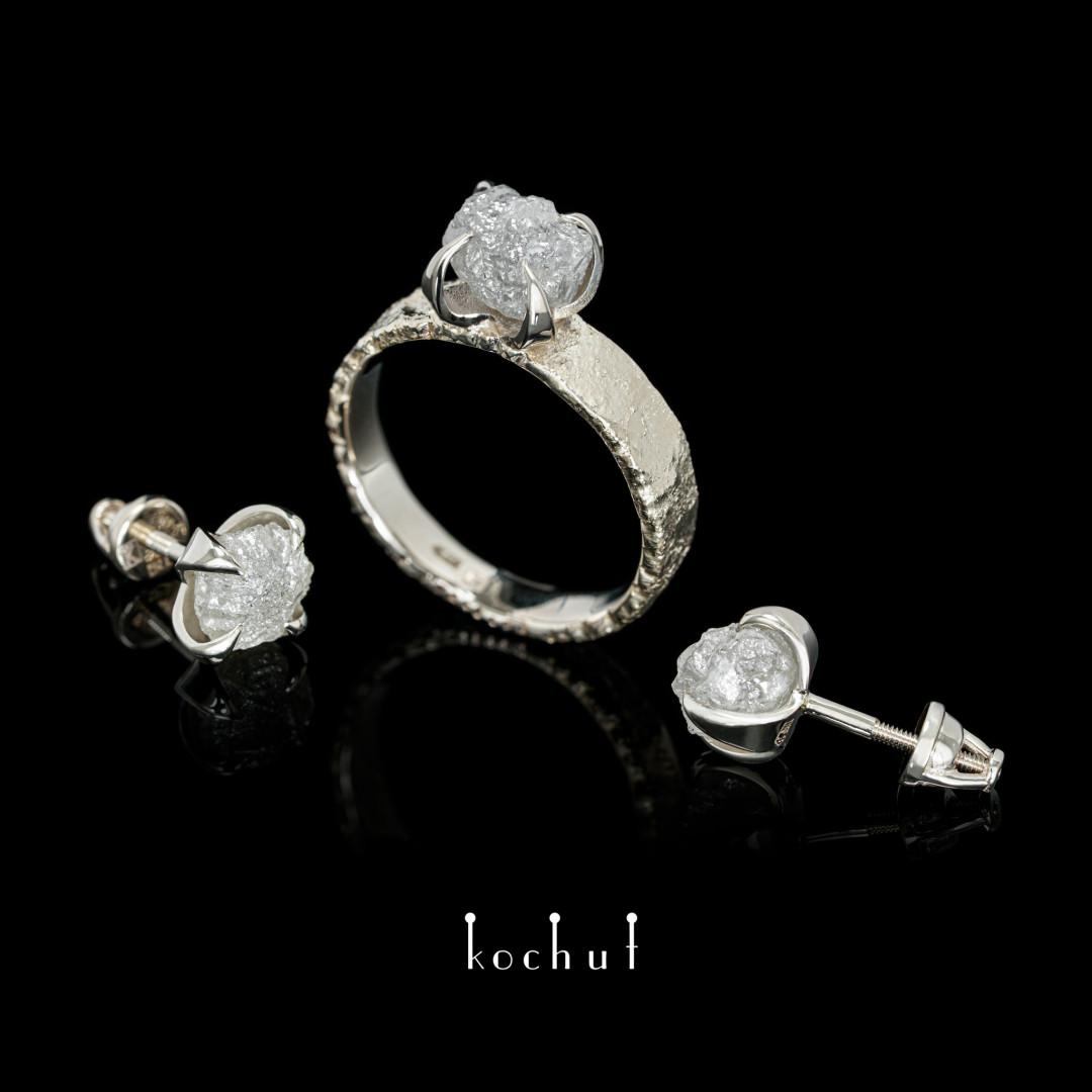 Set «Delicate Flower». White gold, diamond