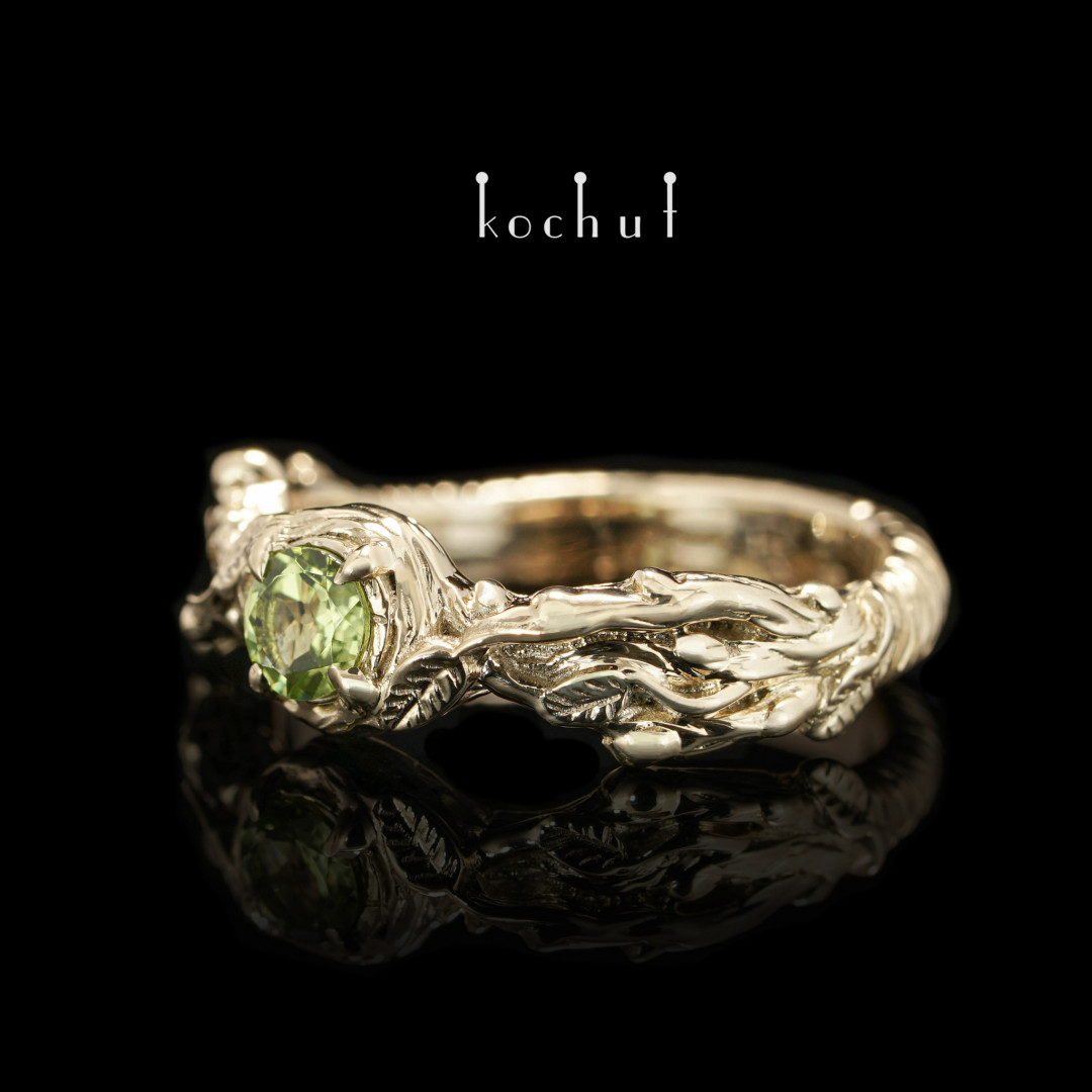 Sprouts — yellow gold engagement ring with chrysolite