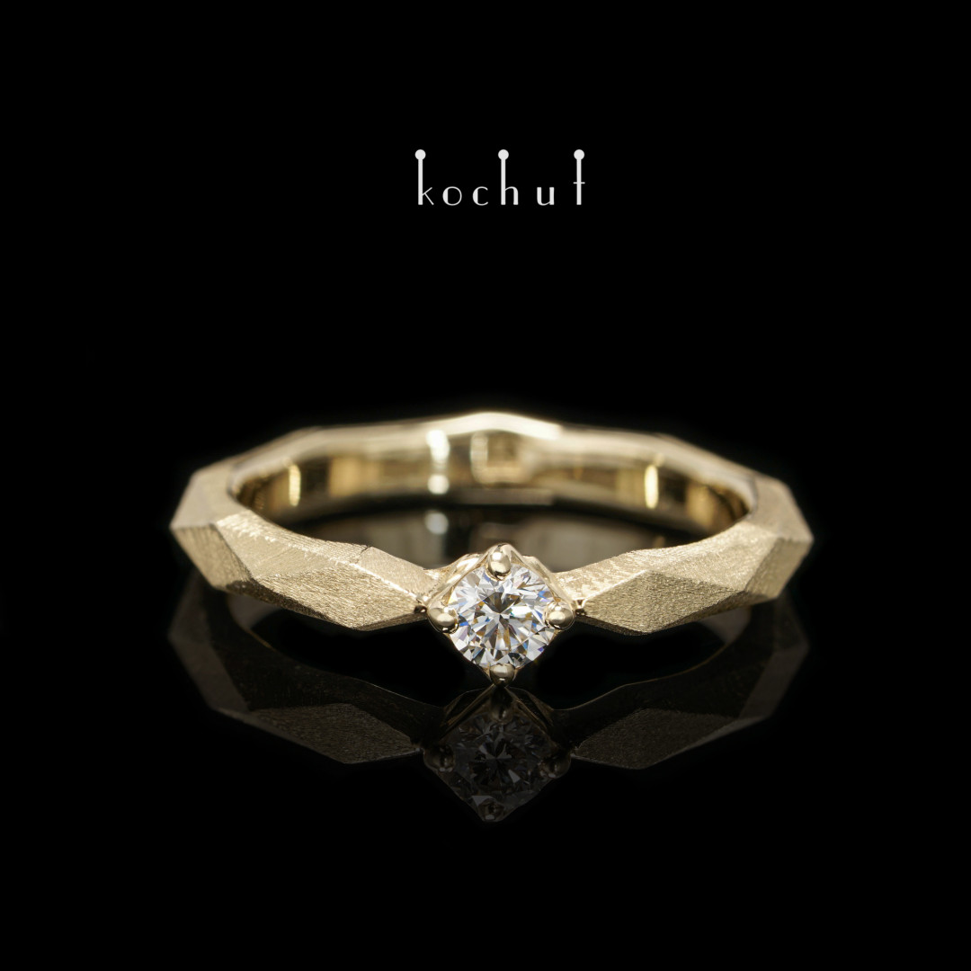 Engagement ring «MyQueen». Yellow gold, diamond