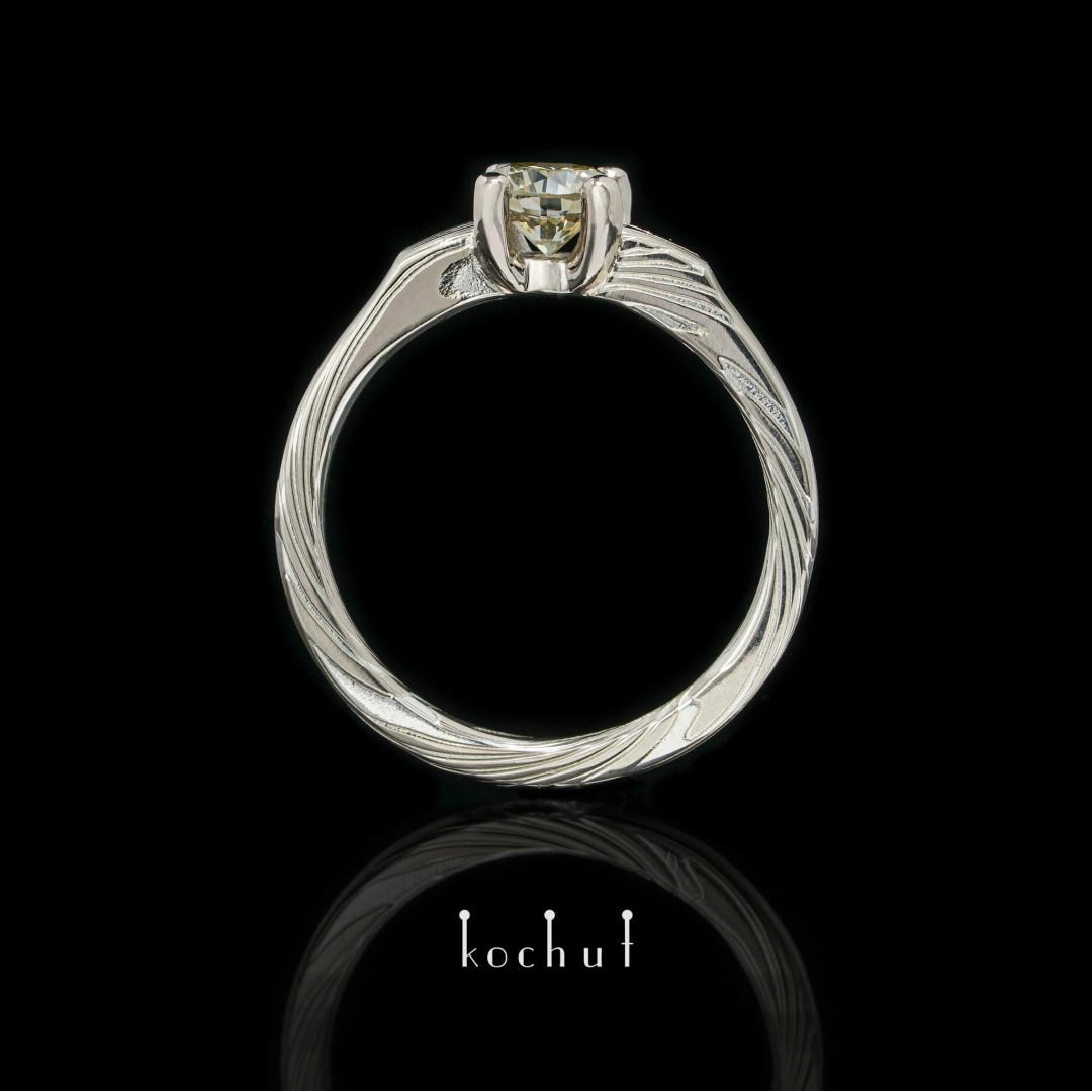 Empress Kojun — green diamond mokume ring