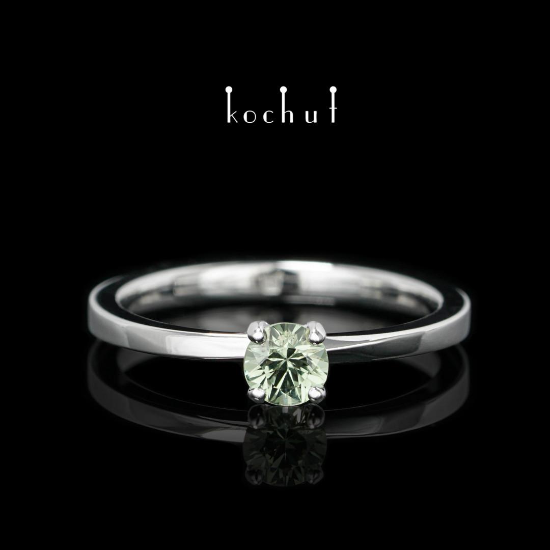 Engagement ring «My inspiration». White gold, sapphire, white rhodium