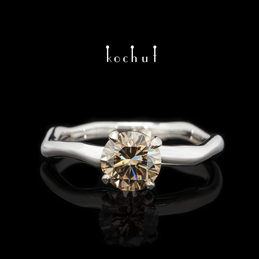 Engagement ring «Gentle hugs». Palladium gold, brown diamond