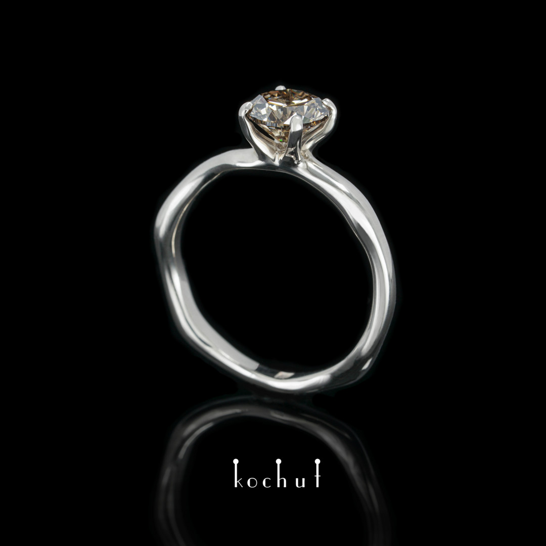 Gentle hugs — palladium gold engagement ring with a brown diamond