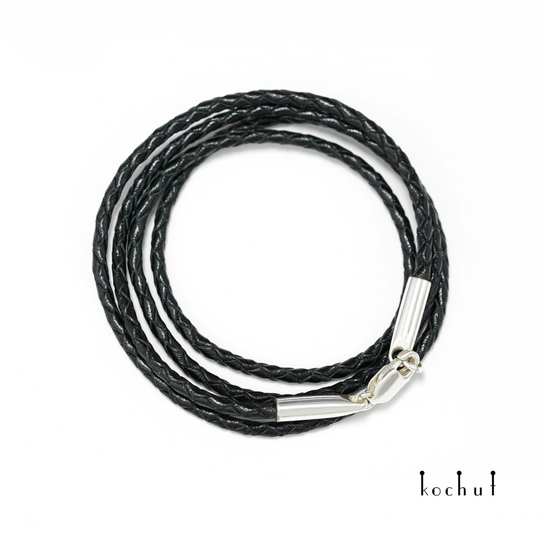 Leather lace with silver clasp