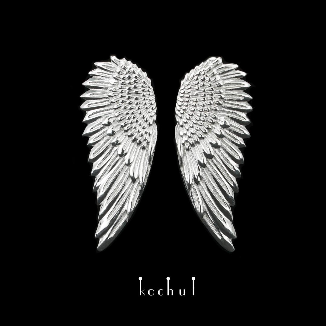 Earrings «Wings». Silver, white rhodium