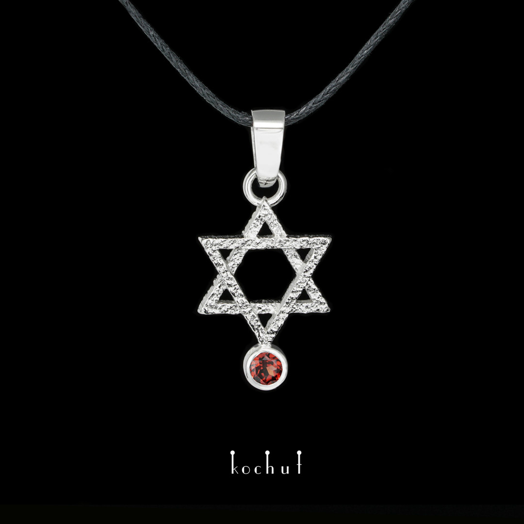 Pendant «Star of David». White gold, white rhodium, garnet