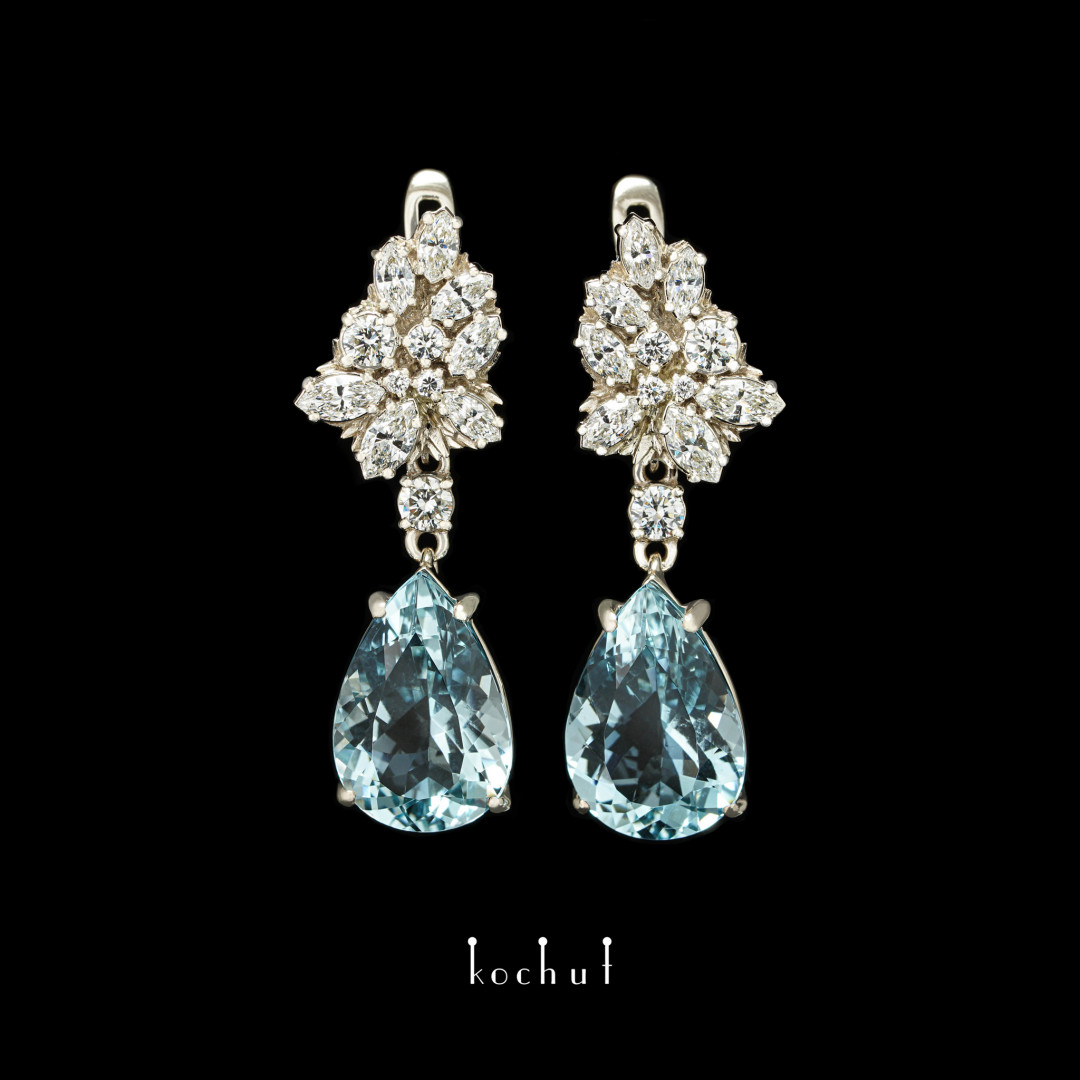 Earrings «Metida». White gold, aquamarines, diamonds