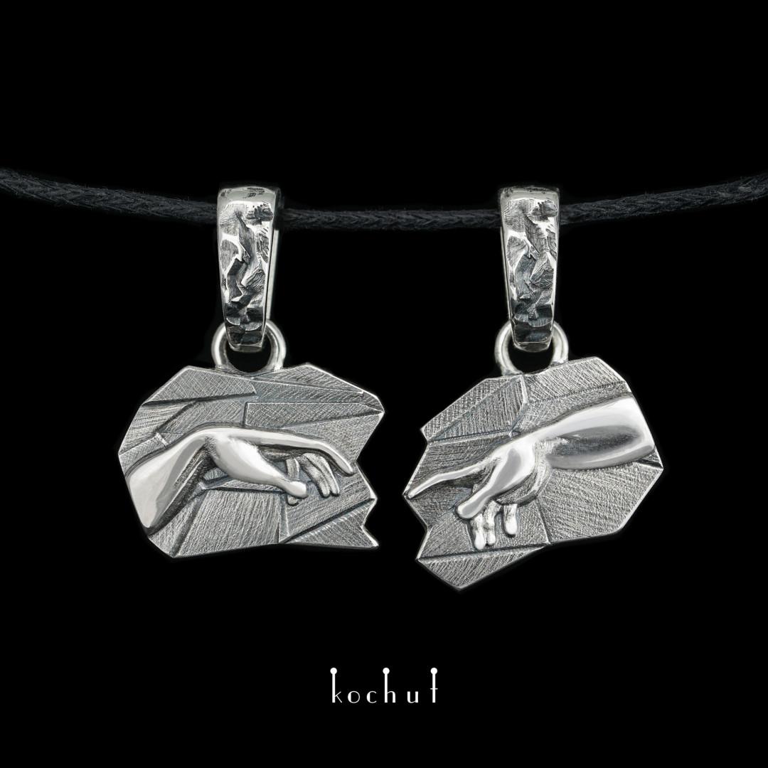 Double pendant «The Birth ofAdam». Silver, oxidation