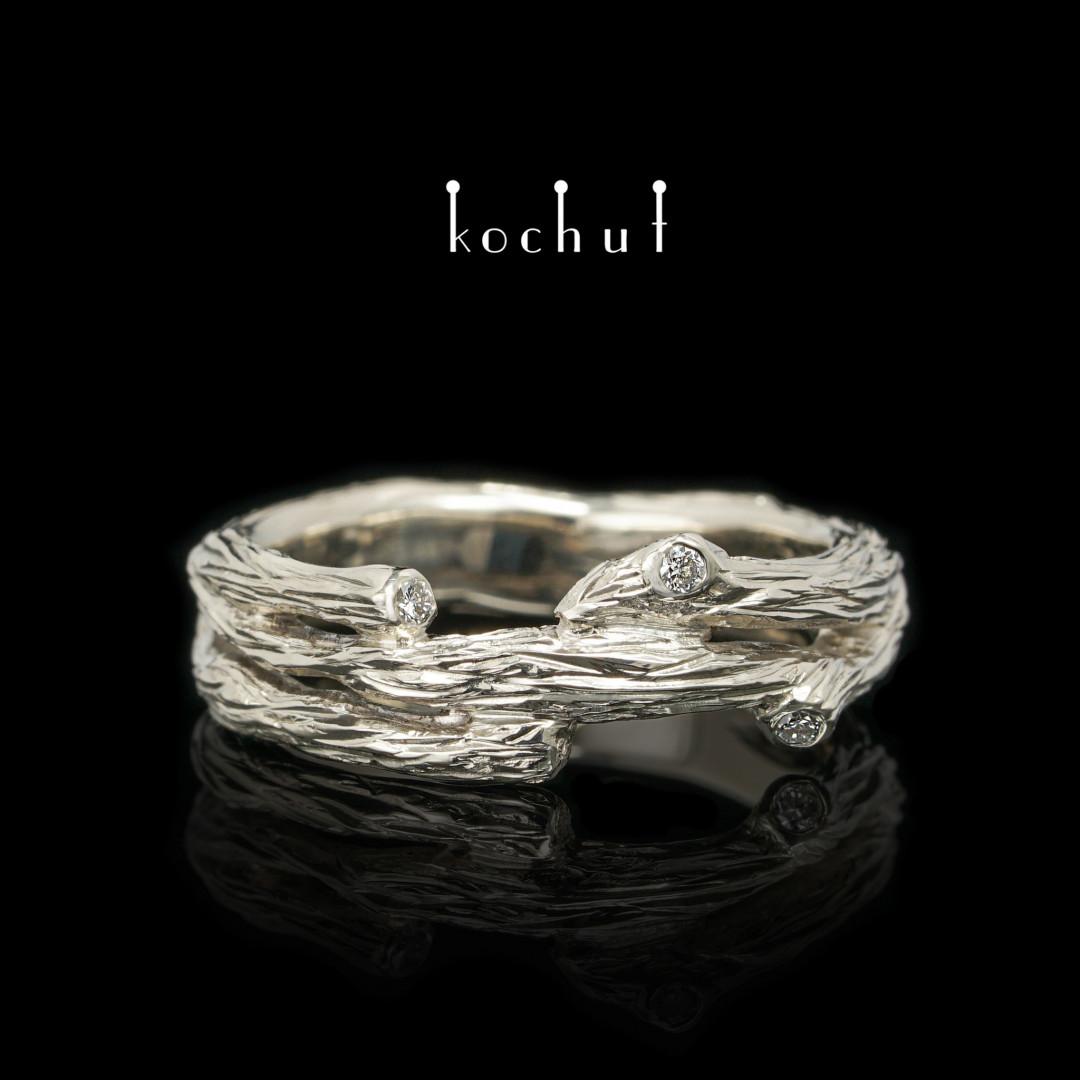 Ring «Twig». White gold, diamonds