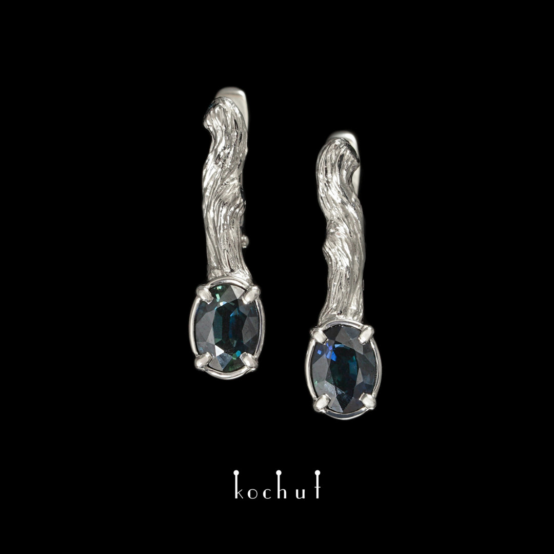 """Earrings """"Twigs"""" (truncated). White gold, sapphires, white rhodium"""